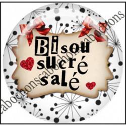 1 CABOCHON  résine Cabochons Rond 25mm  Ref 11660 bisous,rouge et blanc,noir,flot,coeur,rouge,coeur,cadeau, porte clés création,bijou cabochon,cadeau,offrir