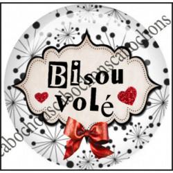 1 CABOCHON  résine Cabochons Rond 25mm  Ref 11658 Bisous,rouge et blanc,noir,flot,coeur,rouge,coeur,cadeau, porte clés création,bijou cabochon,cadeau,offrir