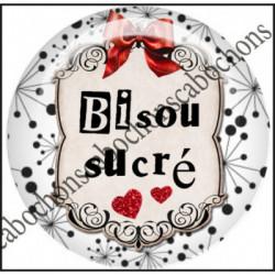 1 CABOCHON  résine Cabochons Rond 25mm  Ref 11657 Bisous,rouge et blanc,noir,flot,coeur,rouge,coeur,cadeau, porte clés création,bijou cabochon,cadeau,offrir