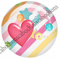 1 CABOCHON  résine Cabochons Rond 25mm  Ref 5426  SURVEILLANTE,fleur,multicolore, fleurs,flot,noeud    textes,écritures