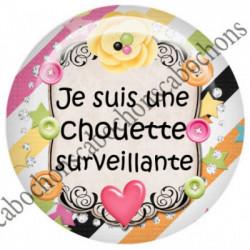 1 CABOCHON  résine Cabochons Rond 25mm  Ref 5423  SURVEILLANTE,fleur,multicolore, fleurs,flot,noeud    textes,écritures