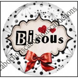 1 CABOCHON  résine Cabochons Rond 25mm  Ref 11655 Bisous,rouge et blanc,noir,flot,coeur,rouge,coeur,cadeau, porte clés création,bijou cabochon,cadeau,offrir
