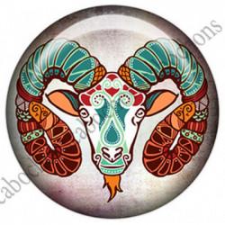 1 CABOCHON  résine Cabochons Rond 25mm  Ref 4859Bélier,Astrologie,signe du zodiaque,signes astrologique,tribal,. textes,écritures