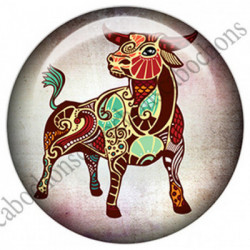 1 CABOCHON  résine Cabochons Rond 25mm  Ref 4857Taureau,Astrologie,signe du zodiaque,signes astrologique,tribal,. textes,écritures