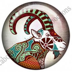 1 CABOCHON  résine Cabochons Rond 25mm  Ref 4856Capricorne,Astrologie,signe du zodiaque,signes astrologique,tribal,. textes,écritures