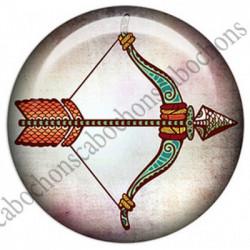 1 CABOCHON  résine Cabochons Rond 25mm  Ref 4855Sagittaire,Astrologie,signe du zodiaque,signes astrologique,tribal,. textes,écritures