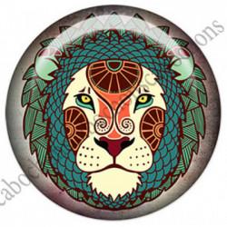 1 CABOCHON  résine Cabochons Rond 25mm  Ref 4854Lion,Astrologie,signe du zodiaque,signes astrologique,tribal,. textes,écritures