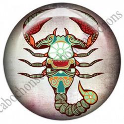 1 CABOCHON  résine Cabochons Rond 25mm  Ref 4853 Scorpion,Astrologie,signe du zodiaque,signes astrologique,tribal,. textes,écritures