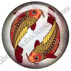 1 CABOCHON  résine Cabochons Rond 25mm  Ref 4852 Poisson,Astrologie,signe du zodiaque,signes astrologique,tribal,. textes,écritures