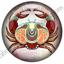 1 CABOCHON  résine Cabochons Rond 25mm  Ref 4850 Cancer,Astrologie,signe du zodiaque,signes astrologique,tribal,. textes,écritures
