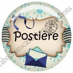 1 CABOCHON  résine Cabochons Rond 25mm  Ref 4834 Facteur,factrice,poste,postier,postière,enveloppe.,bleu,écru.. textes,écritures
