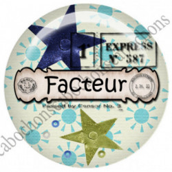 1 CABOCHON  résine Cabochons Rond 25mm  Ref 4827 Facteur,factrice,poste,postier,postière,enveloppe.,bleu,écru.. textes,écritures