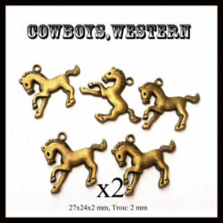 Breloques pendentifs, x2, Cheval, chevaux, Cowboy, western, country
