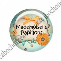 1 CABOCHON  résine Cabochons Rond 25mm  Ref 2266 Mademoiselle  textes,écritures