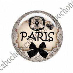 1 CABOCHON  résine Cabochons Rond 25mm  Ref 1670 Paris.. textes,écritures