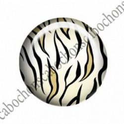 1 CABOCHON  résine Cabochons Rond 25mm  Ref 1565 Tigre.. textes,écritures