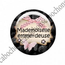 1 CABOCHON  résine Cabochons Rond 25mm  Ref 1499 Mademoiselle.. textes,écritures