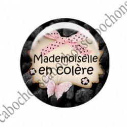 1 CABOCHON  résine Cabochons Rond 25mm  Ref 1496 Mademoiselle.. textes,écritures
