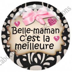 1 CABOCHON  résine Cabochons Rond 25mm  Ref 4546Belle-mère,belle-maman textes,écritures