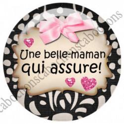 1 CABOCHON  résine Cabochons Rond 25mm  Ref 4545Belle-mère,belle-maman textes,écritures