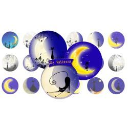 Images digitales 25,20,18mm Chat au clair de lune écritures,textes,messages ,images pour cabochons