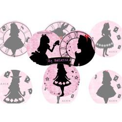 Images digitales 30,25,20,18,12mm Alice Wonderland écritures,textes,messages ,images pour cabochons