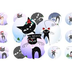 Images digitales 30,25,20,18,18x25mm Chats de noël écritures,textes,messages ,images pour cabochons