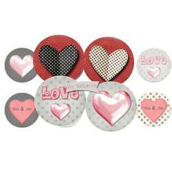 Images digitales 25,20,18mm Amour,coeur,love 25,20,18,16,14,12mm écritures,textes,messages ,images pour cabochons