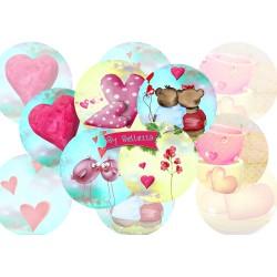Images digitales 25,20,18,12,18x25mm Love pink écritures,textes,messages ,images pour cabochons