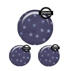Parure 25MM-20mm VERRE, 3 Cabochons  en verre  25m  Ref P-2355 étoiles