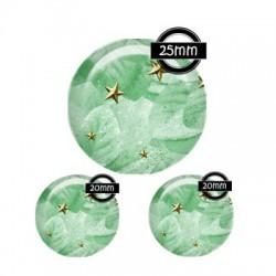 Parure cabochon verre 25mm,20mm,mint,menthe