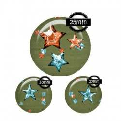 Parure cabochon verre 25mm,20mm,pois,polka,?toiles,kaki orange,turquoise,bleu