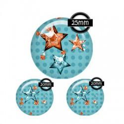 Parure cabochon verre 25mm,20mm,pois,polka,?toiles,orange bleu