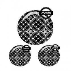 Parure cabochon verre 25mm,20mm,motif noir et blanc