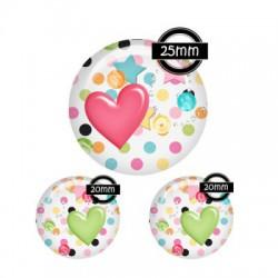 Parure cabochon verre 25mm,20mm,festif,pois,multicolore,c?ur