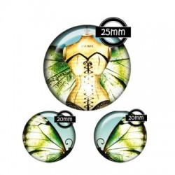 Parure cabochon verre 25mm,20mm,corset,papillon