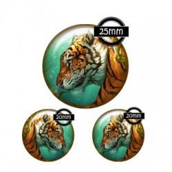 Parure cabochon verre 25mm,20mm,tigre