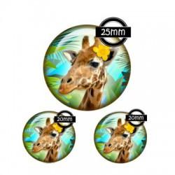 Parure cabochon verre 25mm,20mm,girafe