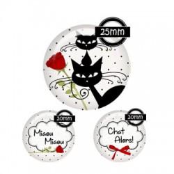 Parure cabochon verre 25mm,20mm,chat miaou miaou,rouge blanc,noir