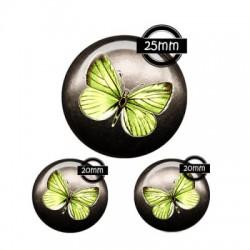 Parure cabochon verre 25mm,20mm,papillon