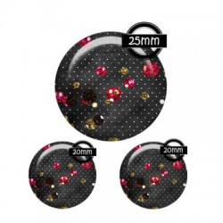 Parure cabochon verre 25mm,20mm,strass,girly,fashion