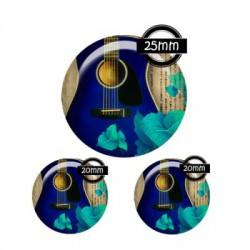 Parure cabochon verre 25mm,20mm,musique,guitare