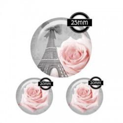 Parure cabochon verre 25mm,20mm,Paris