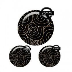 Parure cabochon verre 25mm,20mm,tourbillons & Cie