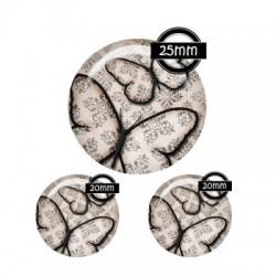 Parure cabochon verre 25mm,20mm Papillon r?tro baroque vintage