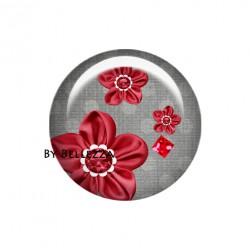Cabochons Rond  super chouette rouge et gris