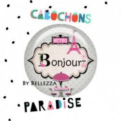 25mm VERRE, 1 Cabochons  verre 25mm  Ref 3319Paris,pois,gris,rose,fashion,vintage,retro 1€,cabochon verre 25mm,collection cabochons paradise,bijou