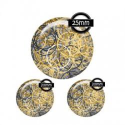 Parure cabochon verre 25mm,20mm motifs g?om?triques,illustrations,fashion