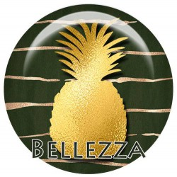 Cabochons Rond 25mm Ananas gold doré