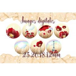 Images digitales 25,20,18,12mm,Coquelicots, fleurs, images pour cabochons